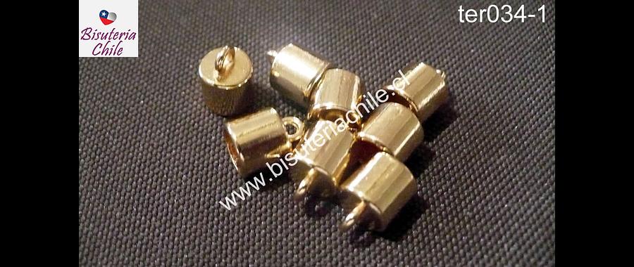 Terminal dorado, 7 mm de largo por 8 mm de ancho y agujero de 6 mm de ancho, set de 8 unidades