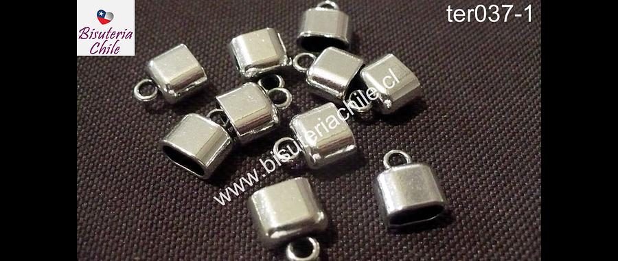 Terminal plateado, 8 mm de largo por 9 mm de ancho y agujero de 7 por 4 mm de ancho, set de/8 unidades