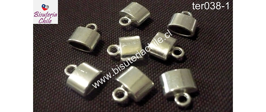 Terminal plateado, 7 mm de largo por 10 mm de ancho y agujero de 8 por 3 mm de ancho, set de 8 unidades
