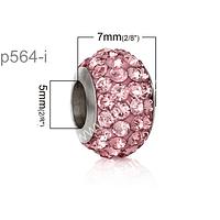 Separador con strass  rosado de acero inoxidable, 7 mm de ancho x 12 mm de alto, agujero de 5 mm, por unidad