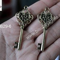 Colgante dorado en forma de llave, 55 mm de largo x 21 mm de ancho, set de 2 unidades