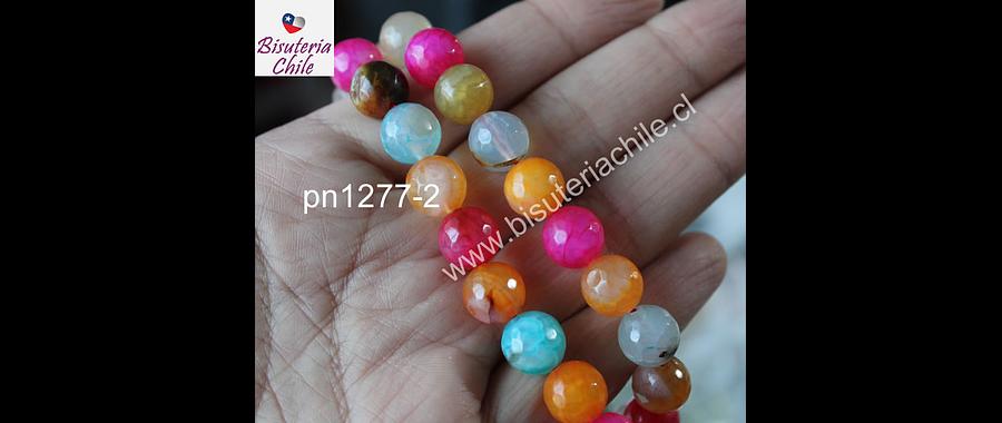 Agata multicolor de 10 mm, tira de 37 piedras aprox
