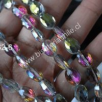Cristal facetado tornasol con brillos fucsias, 12 x 9 mm, 5 mm de ancho, tira de 20 unidades aprox.