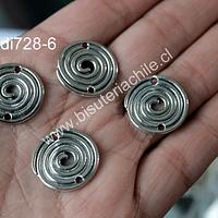 Dije plateado doble conexión, 14 mm de diámetro, set de 4 unidades
