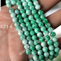 perla de vidrio en tonos verdes, de 6 mm, tira de 130 perlas aprox