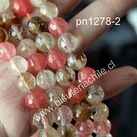 Cuarzo turmalinado facetado color sandía, 10 mm, tira de 37 piedras aprox