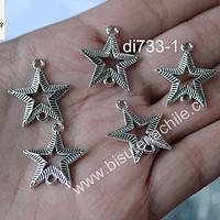 Dije en forma de estrella doble conexión, 21 x 20 mm set de 5 unidades