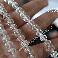Cristal color blanco transparente en forma de cilindro, de 6 mm de diámetro por 5 mm de ancho, tira de 25 unidades