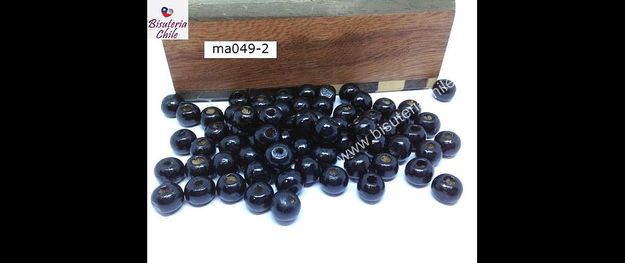 Cuenta de madera color negro 6 mm, bolsa de 25 grs.