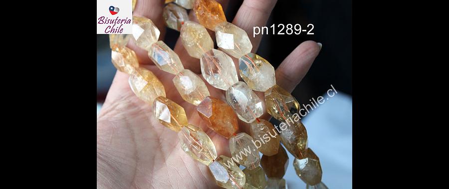 Citrino facetado hexagonal, entre 18 y 17 mm de largo, 12 mm de ancho, set de 5 piedras