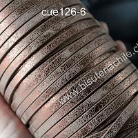 Cuero plano diseño en color cobre, tira de 5 mm de ancho y 1,2 metros de largo