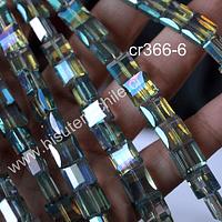 Cristal Cuadrado tornasol cuadrado de 8 x 8 mm, y 4 mm de ancho, set de 10 unidades
