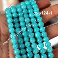 Perla de vidrio en color celeste craquelado, de 8 mm, tira de 100 unidades aprox.