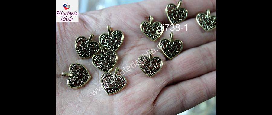 dije dorado en forma de corazón, 15 x 16 mm, set de 10 unidades