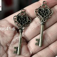 Colgante envejecido en forma de llave, 55 mm de largo x 21 mm de ancho, set de 2 unidades
