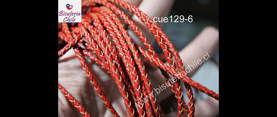 Cuero trenzado de 3 mm, en color rojo, por metro