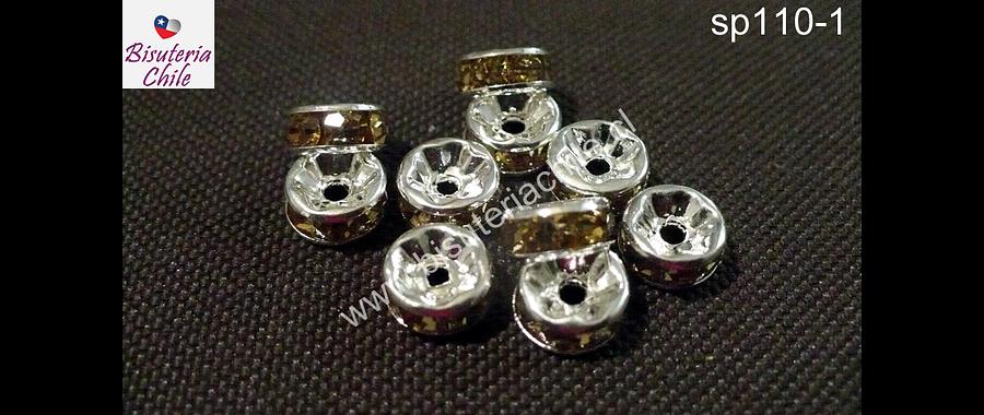 Separador plateado con strass 8 mm, 3 mm de ancho, con cristales café claro, set de 10 mm