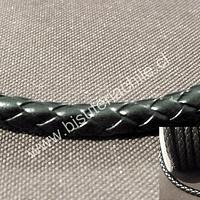 Cuero sintético negro trenzado grueso, de 7 mm de ancho, por metro