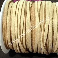 Gamuza color beige de 3 mm de ancho y 2 mm de espesor, por metro