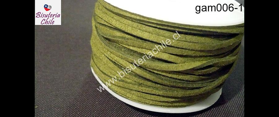 Gamuza color verde musgo de 3 mm de ancho y 2 mm de espesor, por metro
