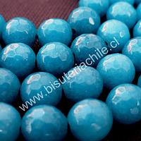 Agata facetada color calipso fuerte, de 8 mm, tira de 47 a 48 piedras aprox