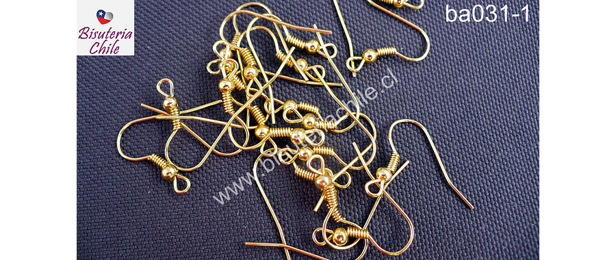 Gancho de aro simple color dorado, set de 10 pares