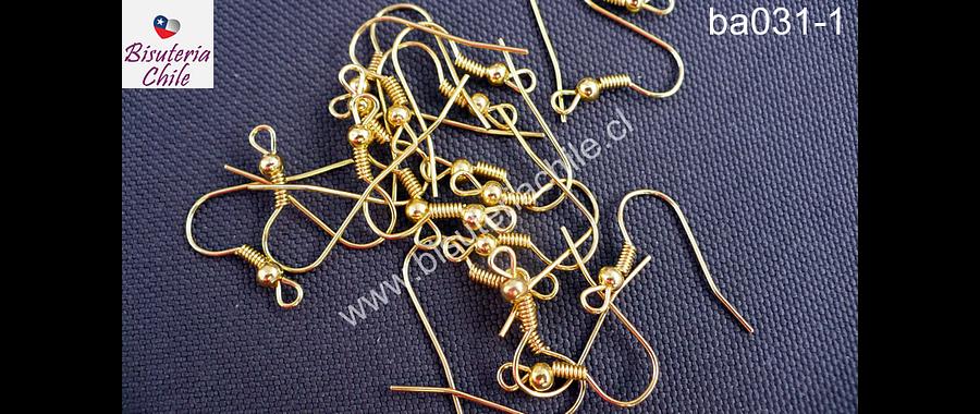Gancho de aro simple color dorado, set de 10 pares