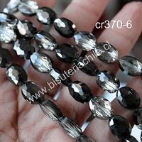 Cristal facetado tornasol con negros y grises, 12 x 9 mm, 5 mm de ancho, tira de 20 unidades aprox.