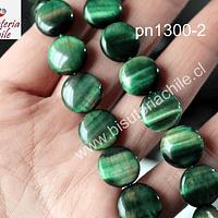 Ojo de tigre verde en forma de moneda, 13 mm de diámetro, 5 mm de ancho, tira de 9 piedras