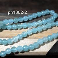 Agatas, Agata en tono jade claro, 6 mm, tira de 62 piedras aprox