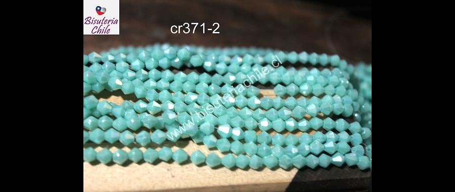 Cristal tupi 4 mm, color jade, tira de 78 cristales aprox