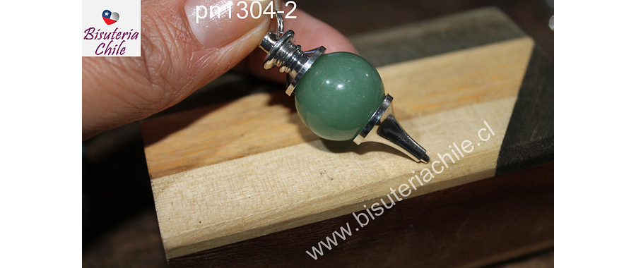 Colgante tipo péndulo de jade, 30 mm de largo x 15 mm de ancho, por unidad