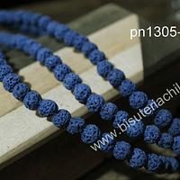 Piedra volcánica 6 mm en color azul tira de 63 piedras aprox.
