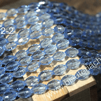 cristal facetado tipo arroz, 10 x 5 mm, color celeste, tira de 25 cristales aprox