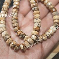 Jaspe paisina, rondell facetado, 7 x 5 mm, tira de 36 piedras