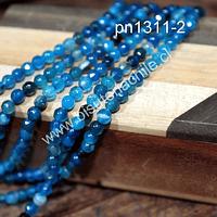 Agata facetada de 4 mm, en tonos azules, tira de 90 piedras aprox