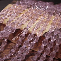 cristal facetado tipo arroz, 10 x 5 mm, color rosado, tira de 25 cristales aprox