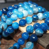 Agata en tonos azulesl de 10 mm, tira de 38 piedras aprox