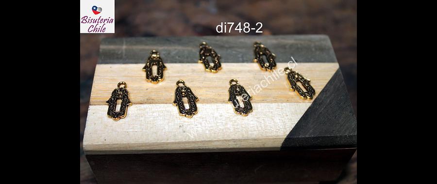 Dije dorado en forma de mano de hamsa, 15 x 10 mm, set de 7 unidades