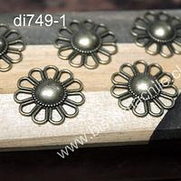 Dije en forma de flor envejecida, 24 mm de diámetro, set de 5 unidades