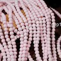 Perla de vidrio pintado 6 mm color rosado tira de 72 unidades