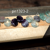 Fluorita en forma de gota, 12 x 10 mm, ira de 15 piedras aprox.