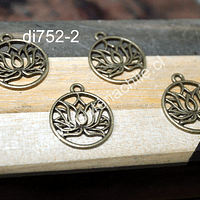 Dije envejecido con flor de loto, 18 mm de diámetro, set de 4 unidades