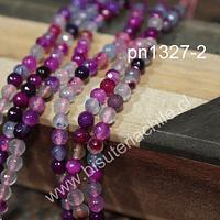 Agata facetada de de 4 mm, en tonos lilas y rosados, tira de 90 piedras aprox.