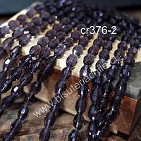 cristal facetado tipo arroz, 10 x 5 mm, color morado, tira de 25 cristales aprox
