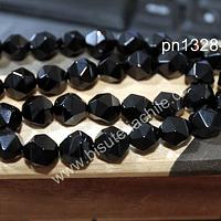 Onix Facetado corte hexagonal, 10 mm, tira de 17 unidades