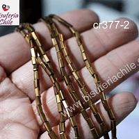 Cristal tubo facetado, color dorado cobrizo de 2 x 5 mm, tira de 100 cristales aprox.