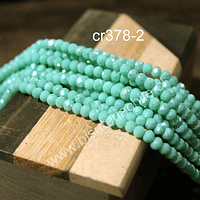 Cristal en tono jade con brillos plateados de 4 mm, tira de 140 unidades aprox.