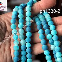 Agata frosting 8 mm, color celeste, tira de 45 piedras aprox