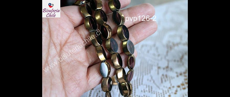 Vidrio y cobre color ciruela, 14 x 10 mm, tira de de 22 unidades